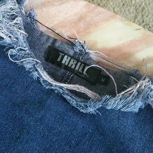 Thrill Jeans Tops - Shredded Cold-shoulder Denim- BOOM!